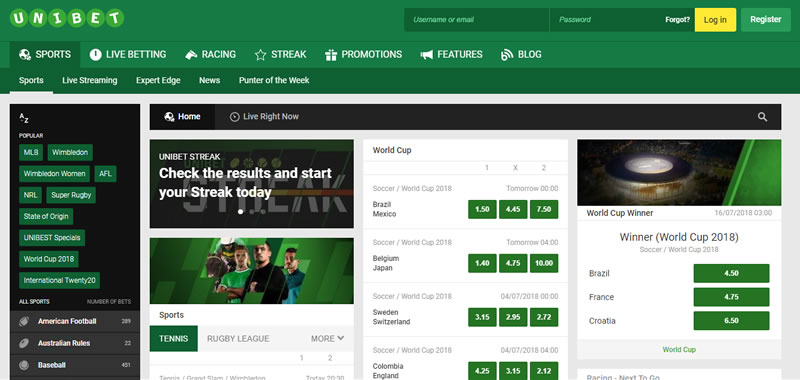 Unibet Australia screenshot